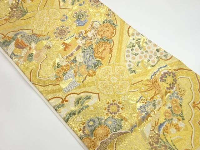 茶道具 茶道 着物 地紙に花々 品質検査済 松 リサイクル 宗sou 着 鳳凰模様織出し袋帯 中古 激安通販