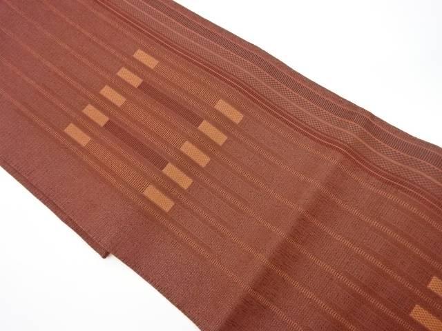 茶道具 品質保証 茶道 着物 最安値 縞模様織出し洒落袋帯 宗sou 中古 着 リサイクル