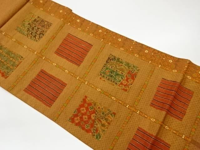 茶道具 割り引き 茶道 着物 色紙に縞 花模様織出し袋帯 中古 着 予約販売 リサイクル 宗sou