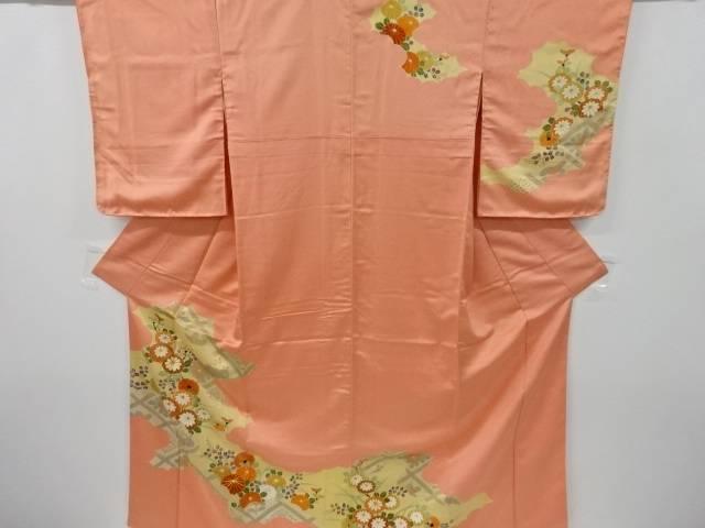 茶道具 メーカー再生品 茶道 着物 逆雲取りに菊 萩模様刺繍訪問着 中古 人気 着 リサイクル 宗sou