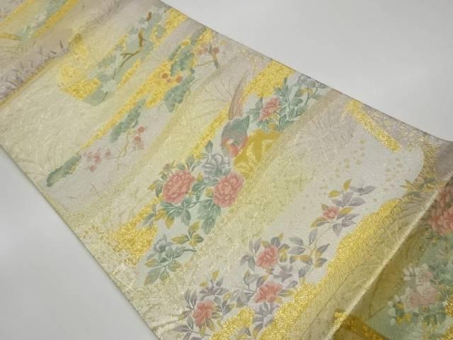 茶道具 茶道 着物 帯に草花模様織出し袋帯 着 中古 宗sou 特売 リサイクル ふるさと割
