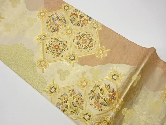 サービス 茶道具 茶道 トラスト 着物 襷に華紋 花鳥模様織出し袋帯 中古 宗sou 着 リサイクル