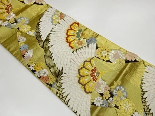 返品送料無料 茶道具 茶道 大放出セール 着物 花々に羽扇模様織出し袋帯 中古 リサイクル 宗sou 着