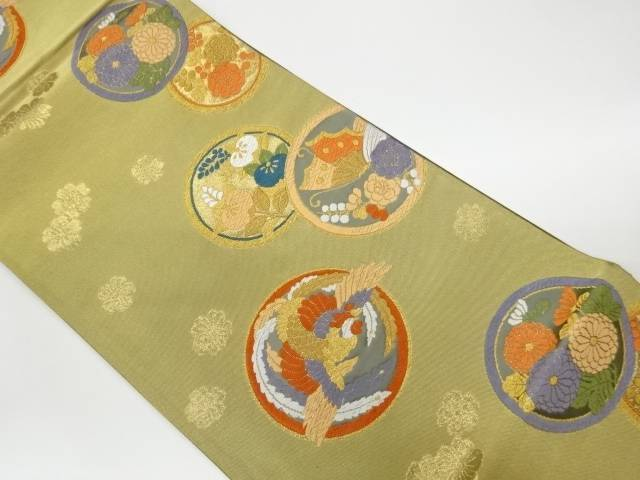 茶道具 茶道 新作 着物 丸文に鳳凰 花蝶模様織出し袋帯 4年保証 リサイクル 着 宗sou 中古