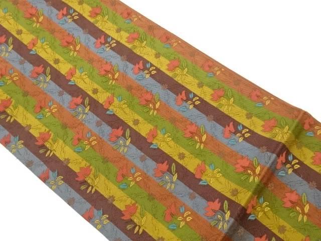 茶道具 茶道 着物 大幅値下げランキング 縞に草花模様織出し袋帯 リサイクル 宗sou 激安セール 中古 着