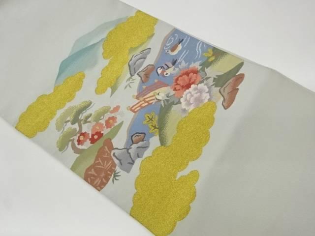 茶道具 茶道 着物 綴れ日本庭園に鴛鴦模様織出し名古屋帯 着 中古 贈物 宗sou リサイクル ランキング総合1位