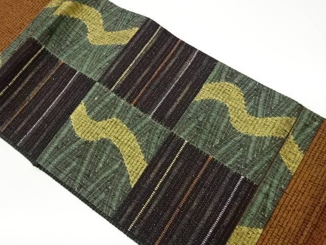 茶道具 茶道 着物 市松に抽象模様織出しリバーシブル袋帯 中古 リサイクル 正規激安 宗sou メーカー再生品 着