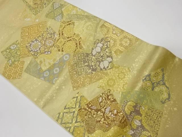 ショッピング 茶道具 期間限定お試し価格 茶道 着物 色紙に華紋 花唐草 宗sou 花鳥模様織出し袋帯 リサイクル 着 中古