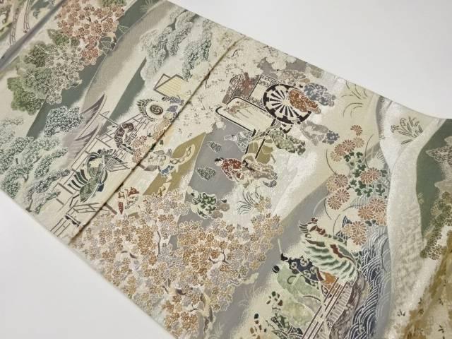 茶道具 茶道 買収 着物 本金箔貴人聚遊楽絵紋様織出し袋帯 中古 リサイクル 着 宗sou 人気商品