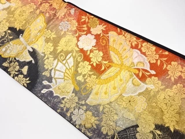 茶道具 茶道 着物 激安格安割引情報満載 蝶に枝垂れ桜模様織出し袋帯 宗sou 大注目 中古 リサイクル 着