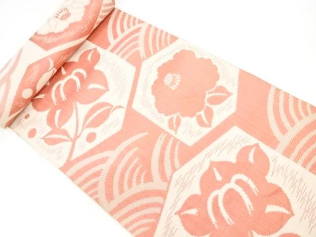 茶道具 茶道 着物 亀甲に草花模様織出し八寸帯地反物 100%品質保証 無料 中古 着 アンティーク 宗sou