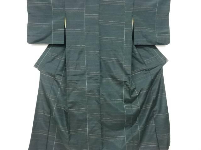 爆売り 茶道具 茶道 人気 着物 横段模様織り出し手織り紬着物 宗sou 着 アンティーク 中古