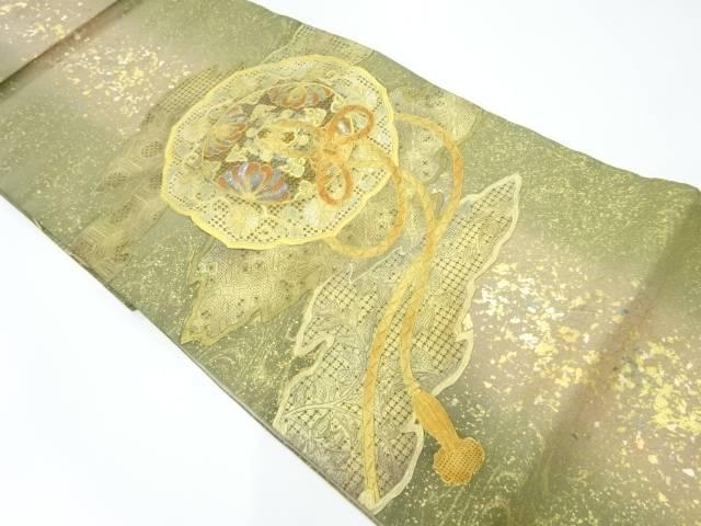 引箔金彩螺鈿鏡裏に花唐草模様刺繍暈し袋帯【リサイクル】【中古】【着】 宗sou