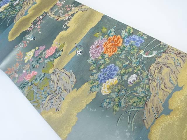 【茶道具・茶道・着物】 雲に花・鳥模様織り出し袋帯【リサイクル】【中古】【着】 宗sou