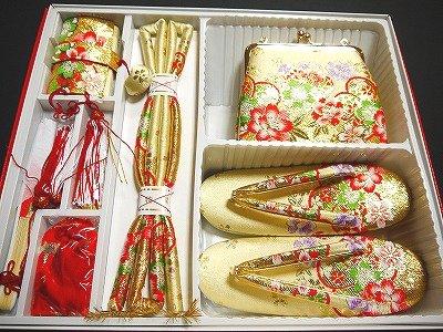 七五三お祝い 女児 最高級 箱迫 はこせこ 6点セット 7J7歳用 金襴 ゴールド花柄