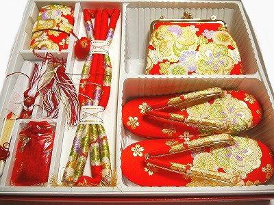 七五三お祝い 女児 最高級 箱迫 はこせこ 7点セット 7L7歳用 金襴 赤地 光琳梅や菊など