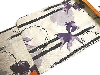 女性用浴衣 プレタ浴衣 仕立て上がり変わり織 綿紅梅 SHU-01フリーサイズ 雪輪に金魚(生成りに紫系) 秀鳳(株)オリジナル