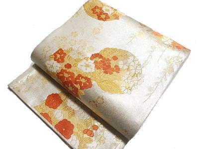 西陣桜井(株) 謹製 仕立上り フォーマル用袋帯 引き箔 白地に丸華紋