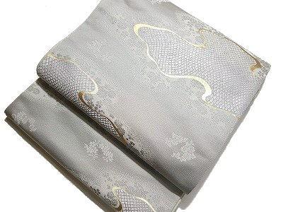西陣の名門 高島織物(株)謹製 リバーシブル袋帯鹿の子の霞柄など グレイ準フォーマル用・未仕立て 日本製