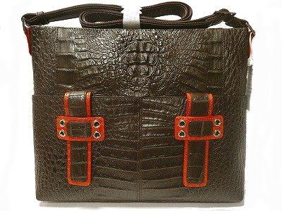 カイマンバッグ ワニ革ショルダーバッグ 爬虫類 男女兼用バッグ ツートンカラー 茶色にオレンジ