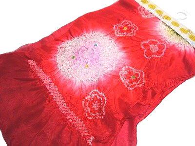 とてもかわいらしいお子様の正絹の絞りの浴衣帯 兵児帯です 子供用 女児 浴衣帯 正絹 赤色 完売 超目玉 絞り 上 兵児帯 赤パールトーン加工済