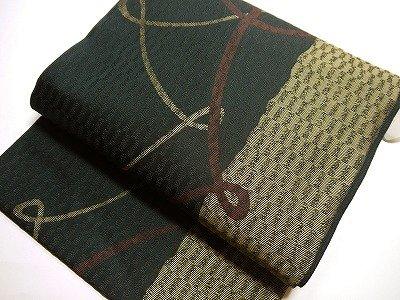 仕立て上り西陣織 絹交織 九寸名古屋帯黒地 リボン柄 A