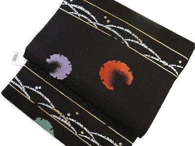 正絹九寸名古屋帯 西陣織 仕立て上がり古典柄 黒地 フォーマル・カジュアル 洒落帯 小紋 紬 附下 大嶋