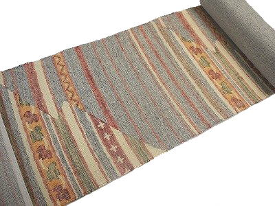 八寸名古屋帯 正絹 未仕立て品西陣織 正絹 紬地 三幸織物謹製 おしゃれ用 横段幾何模様