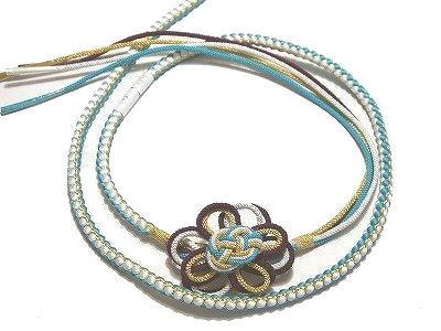 日本最大級の品揃え 振袖用の正絹の丸ぐけ帯締めです 振袖用 浴衣用 帯締め 正絹 水色 ゴールド メイルオーダー 白 紫 組み紐の花飾り付き