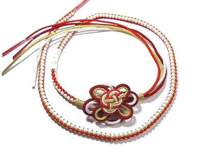 限定品 振袖用の正絹の丸ぐけ帯締めです 振袖用 浴衣用 帯締め 正絹 新作 大人気 朱色 白 組み紐の花飾り付き ゴールド 紅赤色