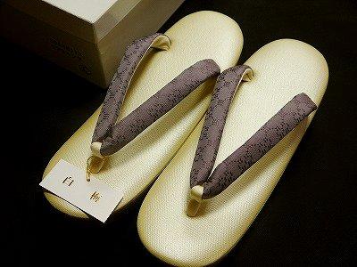 ゾウリ 大阪ぞうり 「白梅」謹製帆布の台 正絹の紋織りの鼻緒使用 L寸no.115