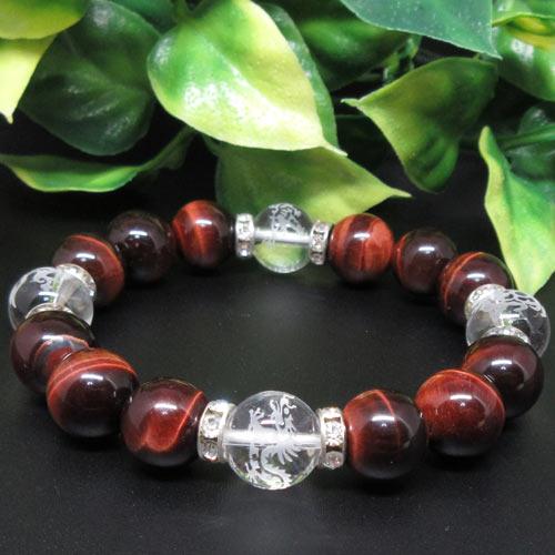 【天然石】四神獣(水晶12ミリ)レッドタイガーアイ(赤虎目石12ミリ)
