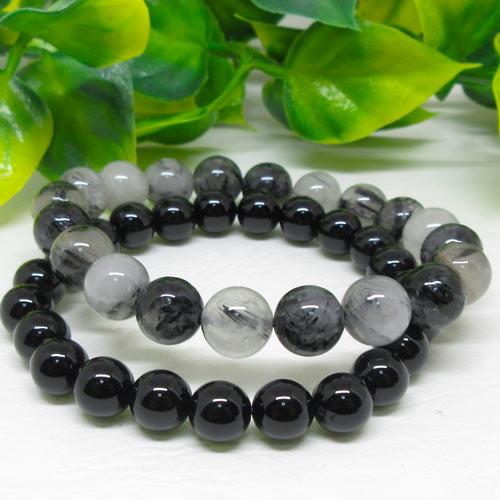 【天然石】トルマリンインクォーツ(電気石入り水晶10ミリ)オニキス(黒瑪瑙8ミリ)