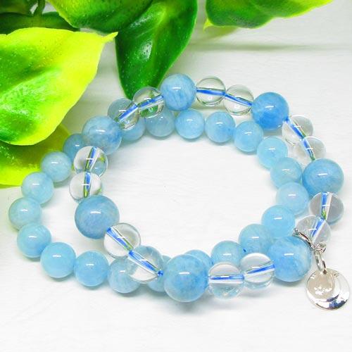 【天然石】アクアマリン(藍玉10ミリ)水晶。アクアマリン8ミリ2連セット