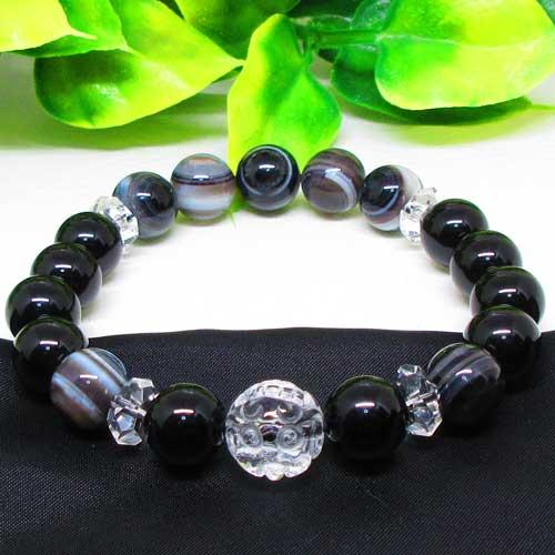 【天然石】龍浮かし彫り水晶(12ミリ)天眼石(10ミリ)モリオン(黒水晶10ミリ)