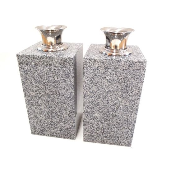 【墓石】【お墓参り】【花立】【ステンレス花筒】【送料無料】 花立 角型(1対) 「白御影石」
