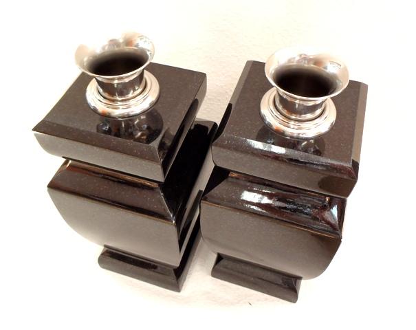 【墓石】【お墓参り】【花立】【ステンレス花筒】【送料無料】 花立 花瓶型(1対) 「黒御影石」