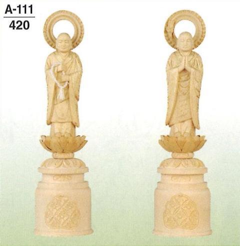 白木 脇仏 浄土宗(金泥付) 立両大師(善導大師・法然上人) 一対 4.5寸