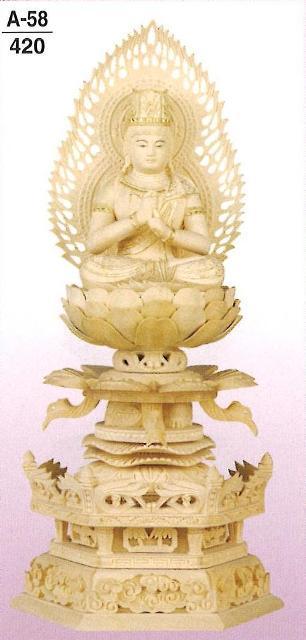 【仏壇】【本尊】【仏像】 ツゲ ケマン 金泥書 大日如来 火炎光背(標準) 2寸