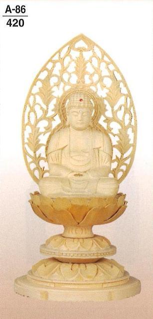 【仏壇】【本尊】【仏像】 白木 蓮華台(丸台) 座釈迦 金泥書 なし3.5寸