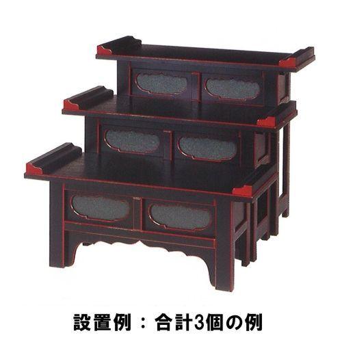 ヒナ壇・筆返付 (黒塗面朱・幅約75cm) 高さ60cm