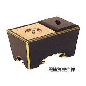 【角香炉】【お焼香】 角香炉 (黒塗渕金箔押・オトシ蓋付) 5寸