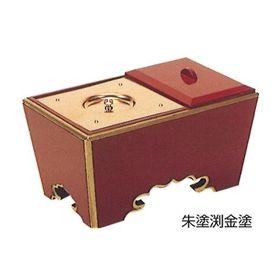 【角香炉】【お焼香】 角香炉 (朱塗渕金箔押・オトシ蓋付) 5寸