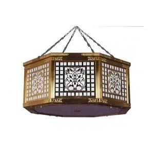 八角新型照明灯(真鍮地・金メッキ)LED電装付 3.0尺 (約90cm)