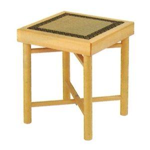 ルーツ型折畳式組立椅子 白木・正角形