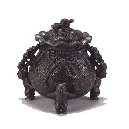 香炉 福袋(小槌蓋) 【 合金製 】 【 高さ13x幅13.5x奥行12.5cm 】