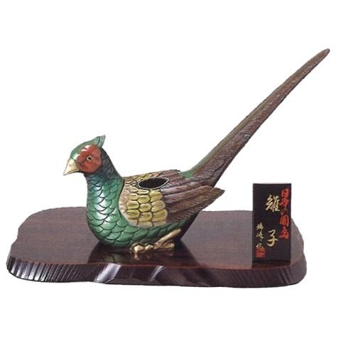 置物 日本の国鳥(雉子) (合金製・木製花台付)