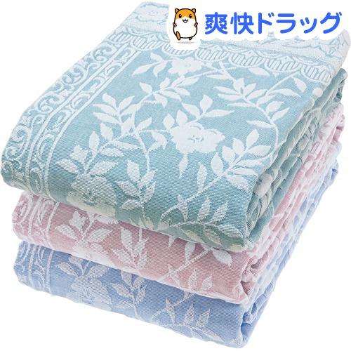 今治産ジャカード織タオルケット テネシー ブルー・ピンク・グリーン(3枚組)