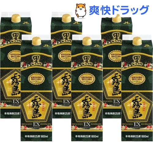 霧島酒造 黒霧島EX 25度 チューパック(1800ml*6本)