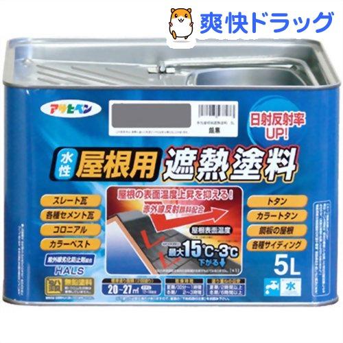 アサヒペン 水性屋根用遮熱塗料 銀黒(5L)【アサヒペン】